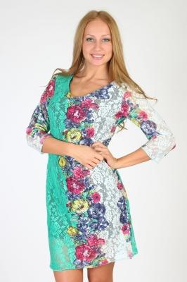 Бело-зеленое платье с цветами прозрачное в сеточку Размер 42 44 46 48  вискоза 95%  лайкра 5% недорогая доставка по России. Помощь в подборе размера. Примерка в Москве. Наложенный платеж. Розница.