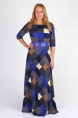 Длинное темно-синее платье в клетку Размер 42 44 46 48 Хлопок 65% Полиэстер 35%  недорогая доставка по России. Помощь в подборе размера. Примерка в Москве. Наложенный платеж. Розница.