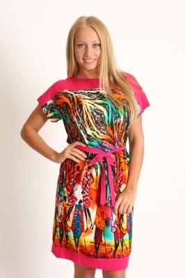 Розовое платье с тропической расцветкой Размер 46 48 50 52 54 56 Хлопок 100%  недорогая доставка по России. Помощь в подборе размера. Примерка в Москве. Наложенный платеж. Розница.