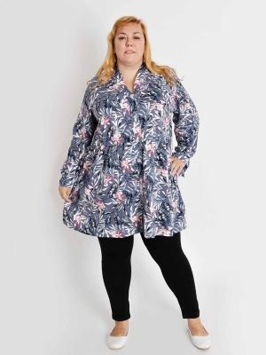 Туника-рубашка большого размера на пуговицах Браво 4 Размеры 62 64 66 68  70 72 74 76 78 80