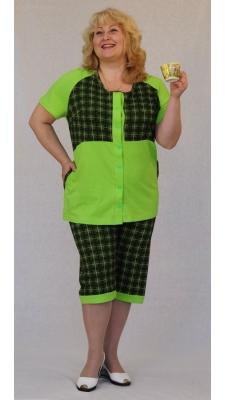 Зеленый женский брючный костюм Размер 60 62 64 66 68 70 72 74 Хлопок 100%  недорогая доставка по России. Помощь в подборе размера. Примерка в Москве. Наложенный платеж. Розница.