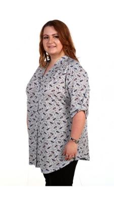 Светло-серая женская рубашка с рисунком в мелкие огурцы Размер 62 64 66 68 70 72 74 76 78 80 вискоза 100%  Помощь в подборе размера. Недорогая доставка по России почтой. Наложенный платеж. Примерка в Москве. Розница.