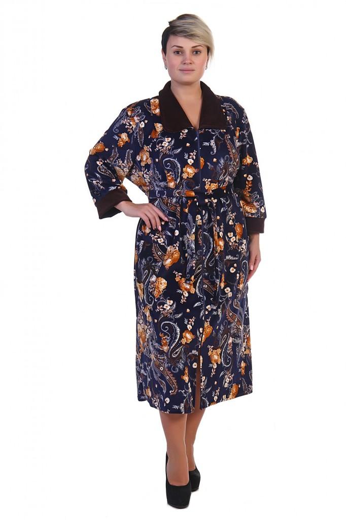 112af2e93310 Женский велюровый халат на молнии темно-сине-коричневый   pravtorg.ru
