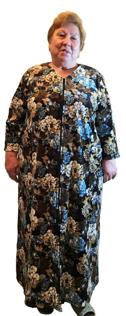 5e476dd8413 ... Женский велюровый халат на молнии с длинным рукавом черный белый синий  Размер 60 62 64 66
