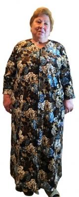 Женский велюровый халат на молнии с длинным рукавом черный белый синий Размер 60 62 64 66 68 70 72 74 76 78 80 82 хлопок 80% п/э 20%  Помощь в подборе размера. Недорогая доставка по России почтой. Наложенный платеж. Примерка в Москве