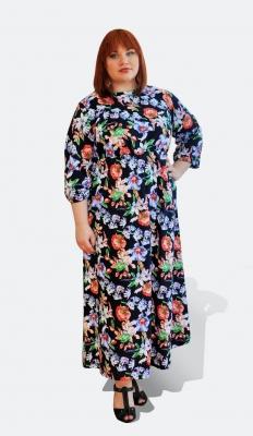 Длинно летнее яркое платье хлопок большого размера 6264 66 68 70 72 74 76 78