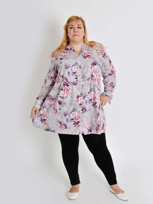 Туника-рубашка большого размера на пуговицах Браво 3 Размеры 62 64 66 68  70 72 74 76 78 80